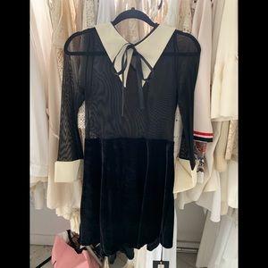 goth dress with Bow velvet on lower mesh upoer
